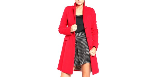 Dámský červený kabát na knoflíky Vera Ravenna