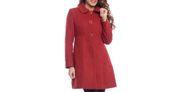 Dámský červený kabát s kapsami Vera Ravenna