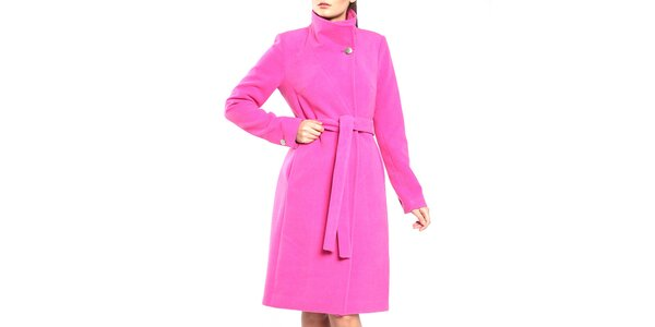 Dámský růžový kabát s páskem Vera Ravenna