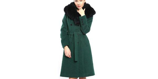 Dámský tmavě zelený kabát s velkým černým límcem Vera Ravenna
