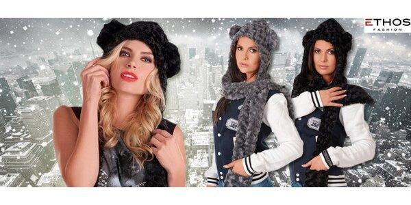 3 v 1 Stylová zimní čepice s šálou a rukavicemi v jednom