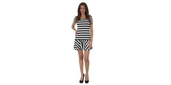 Dámské černo-bílé proužkované šaty Maria Villoresi