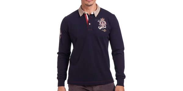 Pánské tmavomodré polo tričko s dlouhým rukávem Galvanni