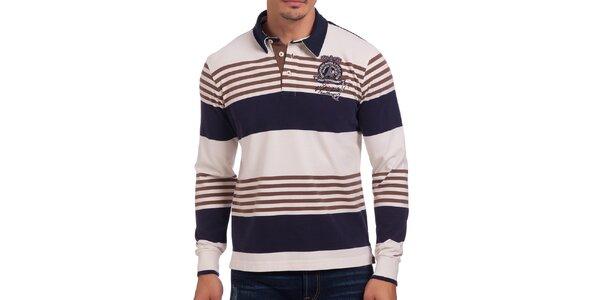 Pánské modro-bílé polo tričko s hnědými pruhy Galvanni