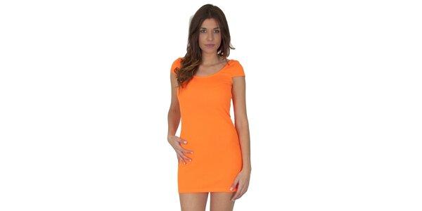 Dámské neónově oranžové šaty Maria Villoresi
