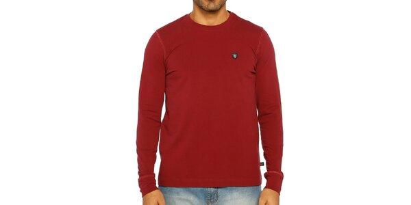 Pánské tmavě červené triko s dlouhým rukávem Galvanni
