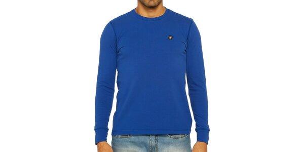 Pánské modré triko s dlouhým rukávem Galvanni