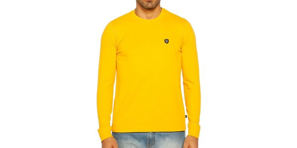 Pánské žluté triko s dlouhým rukávem Galvanni