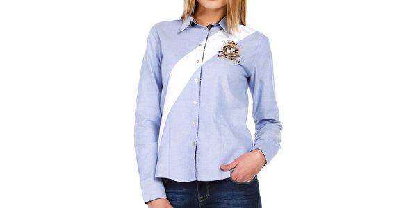Dámská světle modrá košile s bílým pruhem Galvanni