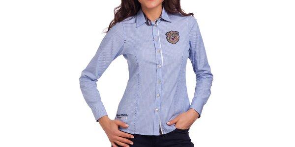 Dámská modrá košile se svislými proužky Galvanni