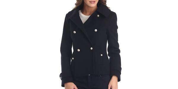 Dámský tmavě modrý krátký kabátek Galvanni