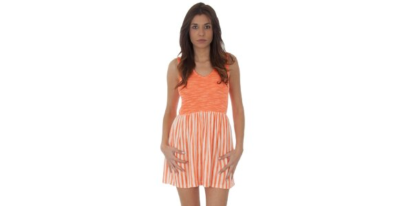 Dámské oranžovo-bílé proužkované šaty Maria Villoresi