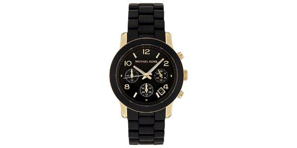 Dámské černé hodinky s pozlacenými prvky Michael Kors