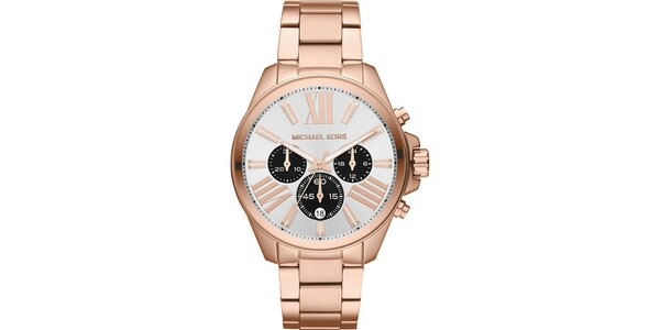 Dámské ocelové hodinky s chronografem Michael Kors - barva růžového zlata