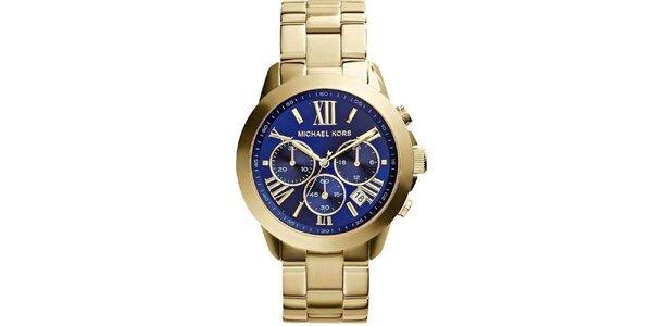 Dámské pozlacené hodinky s tmavomodrým ciferníkem Michael Kors