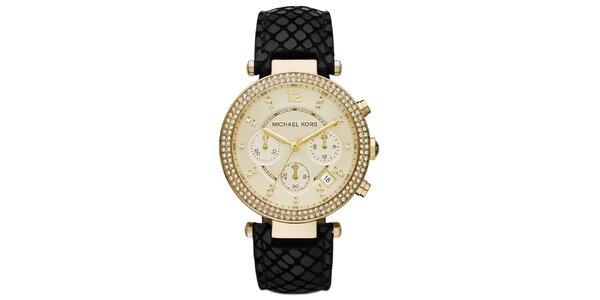 Dámské hodinky s černým koženým řemínkem Michael Kors