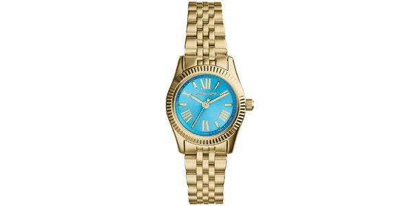 Dámské hodinky s modrým ciferníkem a římskými číslicemi Michael Kors - zlatá…