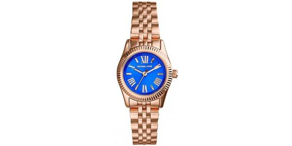 Dámské hodinky s modrým ciferníkem a římskými číslicemi Michael Kors - růžově…