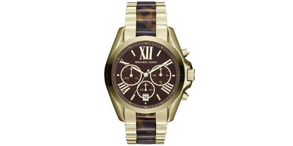 Dámské pozlacené hodinky s hnědými prvky Michael Kors