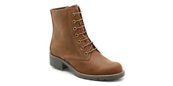 Dámské hnědé kotníkové boty na zip a tkaničky Clarks