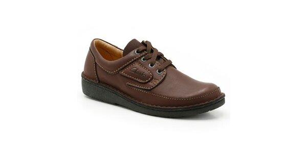 Pánské prošívané hnědé boty Clarks