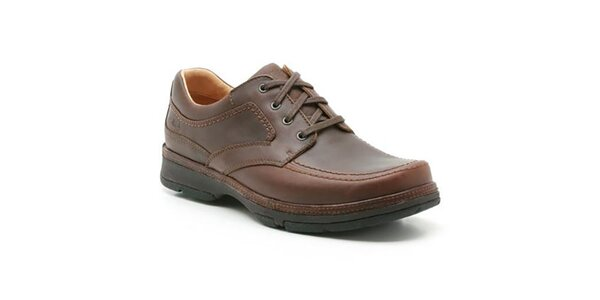 Pánské hnědé kožené boty se šněrováním Clarks