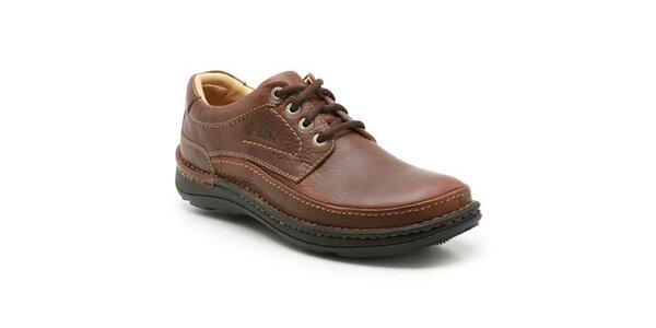 Pánské hnědé boty s prošíváním Clarks