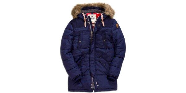 Pánský krátký prošívaný kabát v modré barvě s kožíškem Timeout