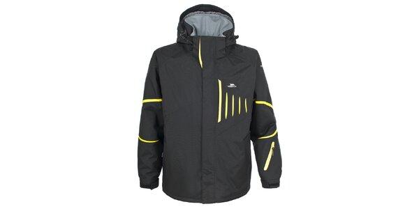 Pánská černá lyžařská bunda se žlutými prvky Trespass