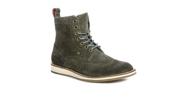 Pánské olivové kotníčkové boty Tommy Hilfiger