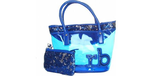Dámská zářivě modrá transparentní kabelka Roccobarocco