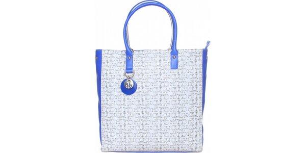 Dámská bílo-modrá kabelka Roccobarocco