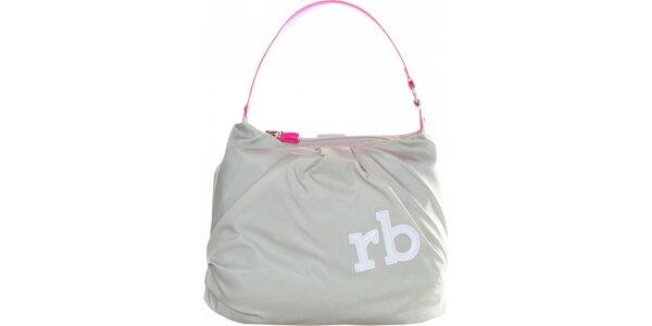Dámská světle šedá nylonová kabelka Roccobarocco s růžovým uchem
