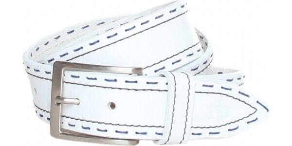 Dámský bílý kožený pásek Roccobarocco s modrým švem