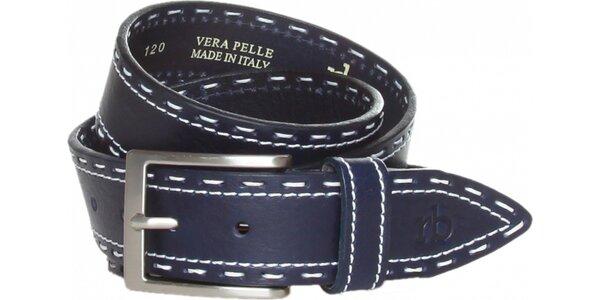 Dámský tmavě modrý kožený pásek Roccobarocco s bílým švem