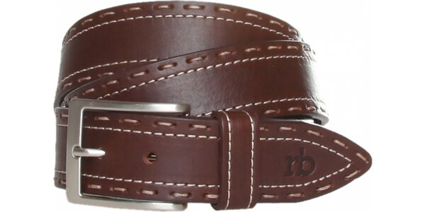 Dámský tmavě hnědý kožený pásek Roccobarocco s béžovým švem