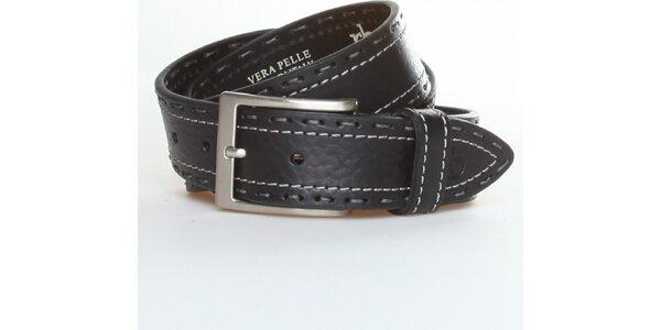 Dámský černý kožený pásek Roccobarocco s bílo-šedým švem