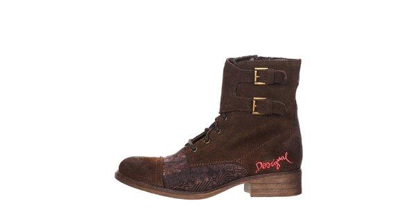 Dámské hnědé boty s výšivkou Desigual