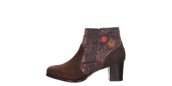 Dámské hnědé kotníkové boty s podpatkem Desigual