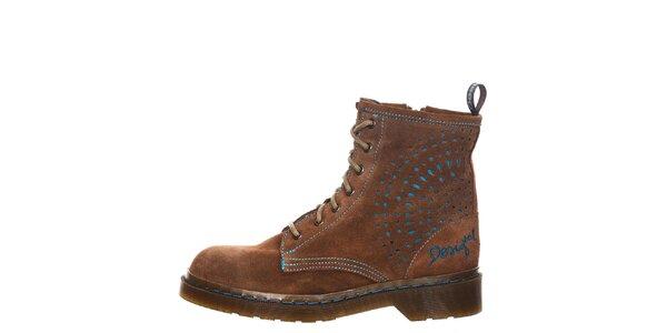 Dámské hnědé šněrovací kotníkové boty Desigual