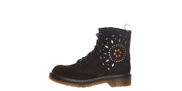 Dámské černé šněrovací boty s barevnými kamínky Swarovski Desigual