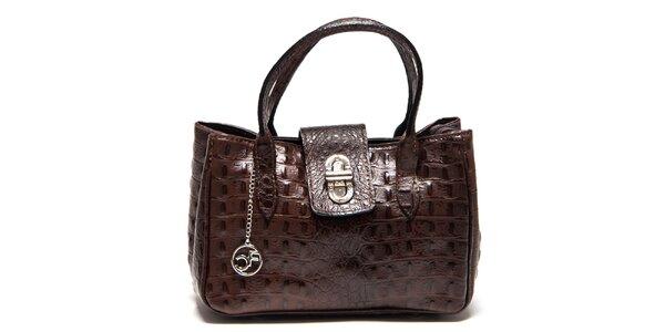 Dámská tmavě hnědá kožená kabelka s krokodýlím vzorem Carla Ferreri