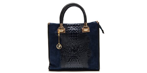 Dámská tmavě modrá kabelka s krokodýlím vzorem Carla Ferreri
