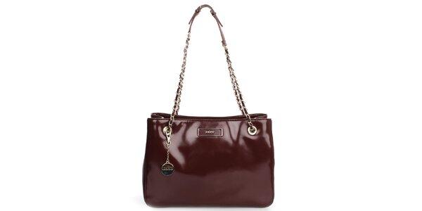Dámská vínová kožená kabelka s řetízkovými poutky DKNY