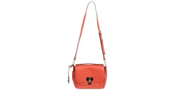 Dámská menší kožená kabelka v oranžové barvě DKNY