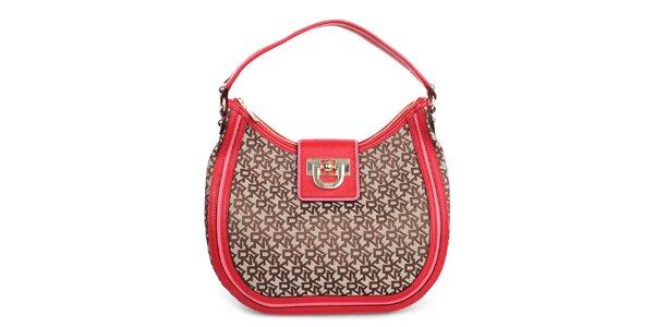 Dámská kabelka s nápisy a červenými prvky DKNY