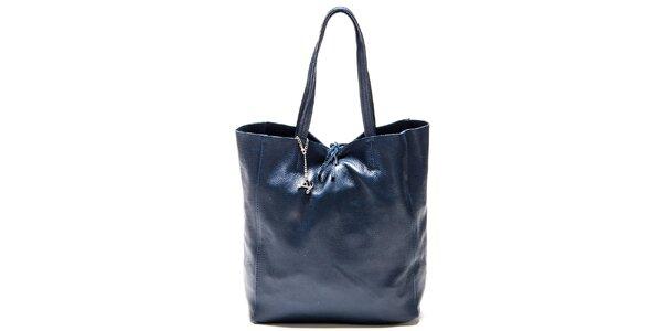 Dámská akvamarínově modrá kožená kabelka Luisa Vannini