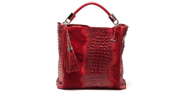Dámská červená kožená kabelka s motivem krokodýlí kůže Luisa Vannini