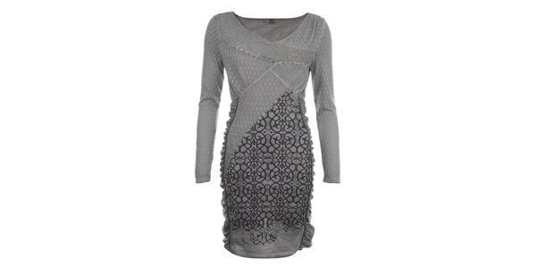 Dámské šedé šaty s ozdobným vzorem a perforováním Angels Never Die