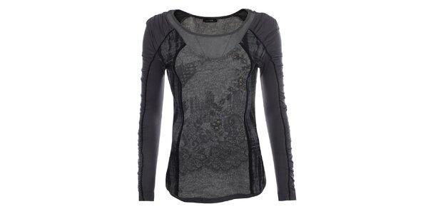 Dámské šedé tričko s černými detaily Angels Never Die